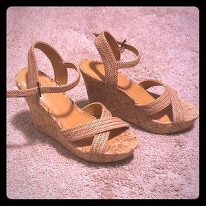 J.crew Factory Cork Wedges sz 5.5
